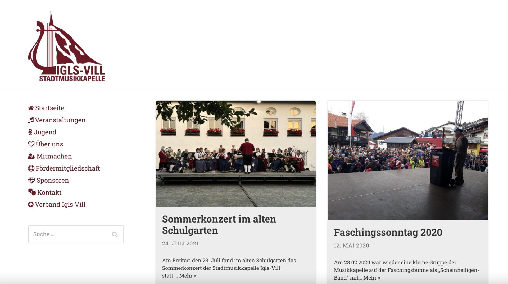 Webseite der Stadtmusikkapelle Igls Vill